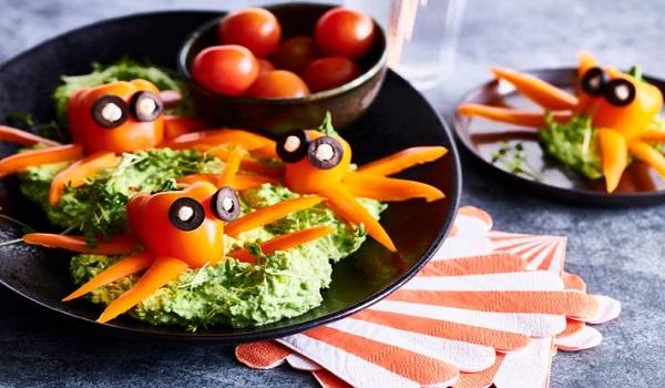 Paprikamonsters in een groentendip maken